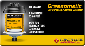 Greasomatic Self Contained Automatic Lubricator - ALL PLASTIC - WATERPROOF - SUBMERSIBLE TO 65 FEET - IDEAL FOR HIGH MOISTURE CORROSIVE ENVIRONMENTS