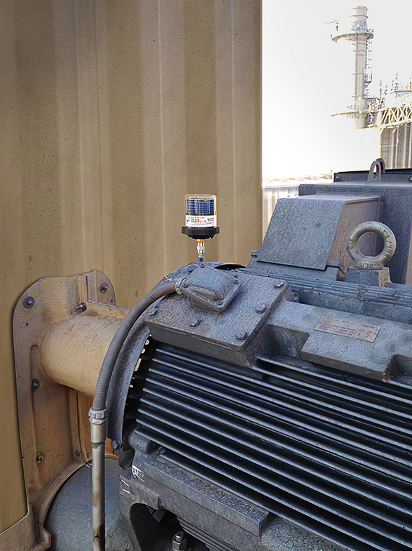 A MEMOLUB HPS 120 lubricates the drive motor bearing of a cooling tower fan at a west coast power plant.